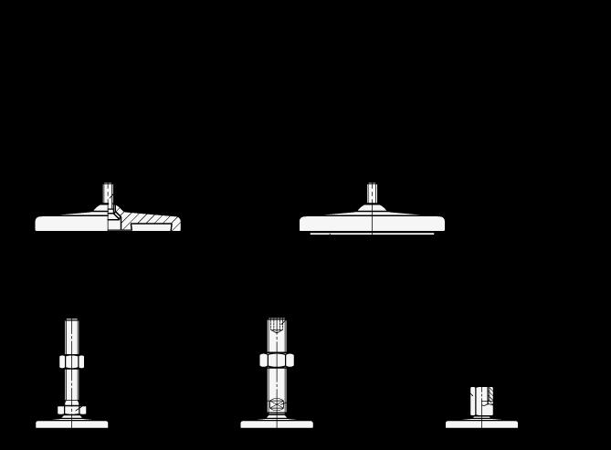 GN 21 Pies de nivelación de acero oxidable, con base torneada, sin orificios de montaje boceto