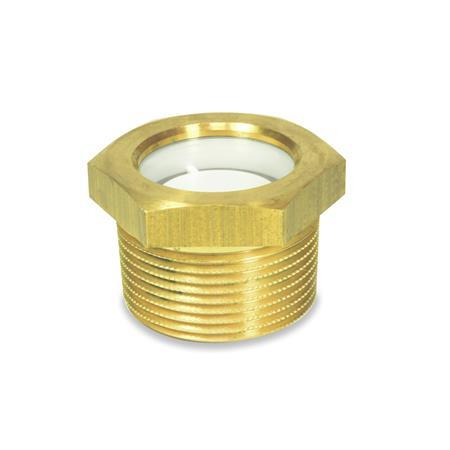 GN 743.8 Brass Fluid Level Sight Glasses, with Natural ESG Glass, BSPT or NPT Threads