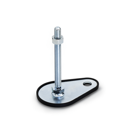 GN 42 Steel Leveling Feet with Fixing Lug, Threaded Stud or Tapped, Plain Base or with Plastic Cap or Rubber Pad