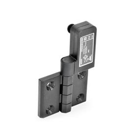 EN 239.4 Plastic Hinges with Integrated Switch, with Connector Plug M12x1 Identification: SR - Bores for contersunk screw, switch right<br />Type: CS - Connector plug at the backside