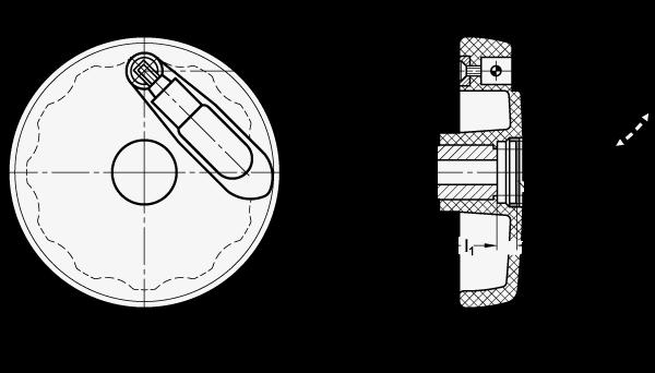 EN 521.7 Volantes de disco sólidos, plástico tecnopolímero, con empuñadura de seguridad plegable boceto