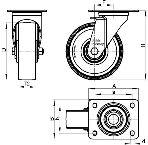 LI-PHN Rodajas giratorias con estampado de acero zincado con rueda de plástico fenólico negro, de servicio medio y resistente al calor, con placa de montaje boceto