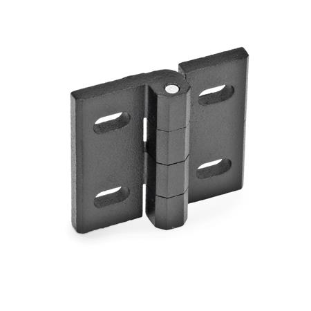 GN 235 Zinc Die-Cast Hinges, Adjustable Material: ZD - Zinc die-cast Type: B - Horizontal slots Finish: SW - Black, RAL 9005, textured finish
