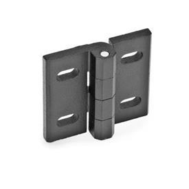 GN 235 Zinc Die-Cast Hinges, Adjustable Werkstoff: ZD - Zinc fundido a presión<br />Tipo: B - ajustable verticalmente<br />Acabado: SW - Negro, RAL 9005, acabado texturizado