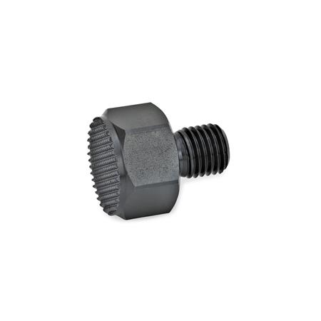 GN 409.1 Steel Positioning Elements, With Male Thread Surface pressure form: R - Serrated contact face