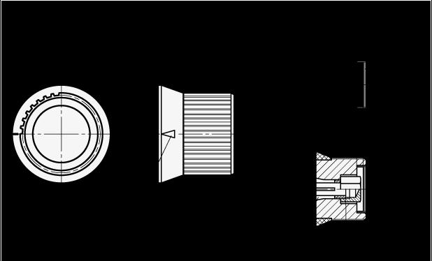 GN 726.2 Perillas de control moleteadas, medidas métricas, de aluminio, con orificio liso o con boquilla boceto