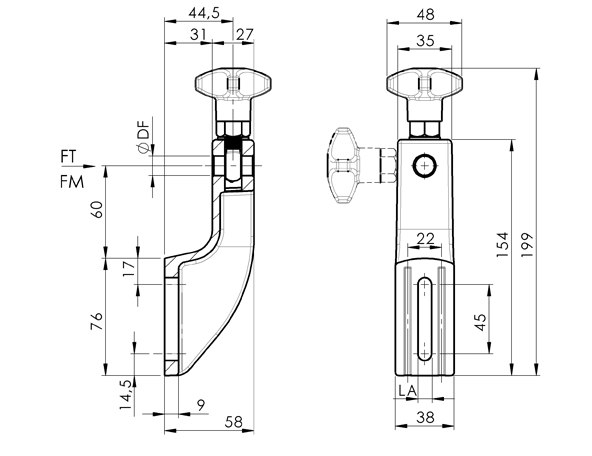 AN 420 Adjustable Side Brackets with 4-Prong Knob sketch