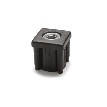 EN 448 Plastic Threaded Tube Ends, Square Type with Molded-In Insert