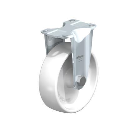 B-PO Rodajas fijas de acero con ruedas de nylon de servicio medio, con placa de montaje, serie de soportes estándar  Type: G - Cojinete liso