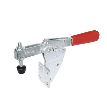 GN 820.2 Abrazaderas de palanca de actuación horizontal, de acero, con base de montaje vertical Tipo: MFC - Versión de barra en U, con dos arandelas bridadas y montaje de husillo GN 708.1