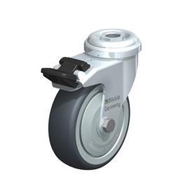 LRA-TPA Rodajas giratorias de acero de servicio ligero con ruedas de caucho termoplástico, y ajuste con agujero para perno  Type: K-FI - Cojinete de bolas con freno «stop-fix»