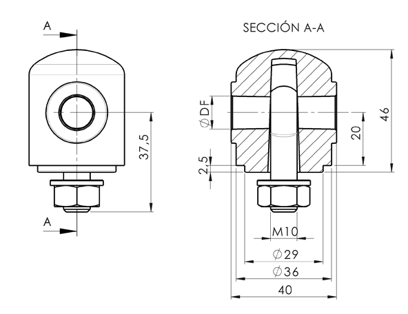 AN 5671 Plastic Clamping Heads With Threaded Eye Bolt Bottom Side sketch