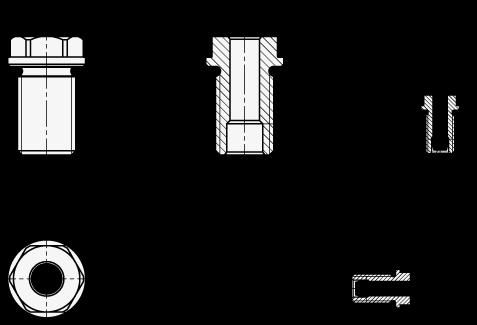 GN 1132 Casquillos de retención de acero inoxidable para pasadores de elevación GN 1130 boceto