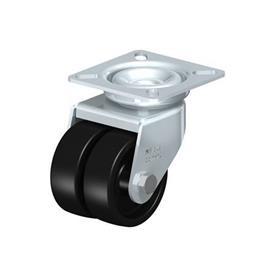LDA-POA Rodajas giratorias de acero con ruedas gemelas de nylon negro, con placa de montaje, serie de soportes estándar Type: G - Cojinete liso