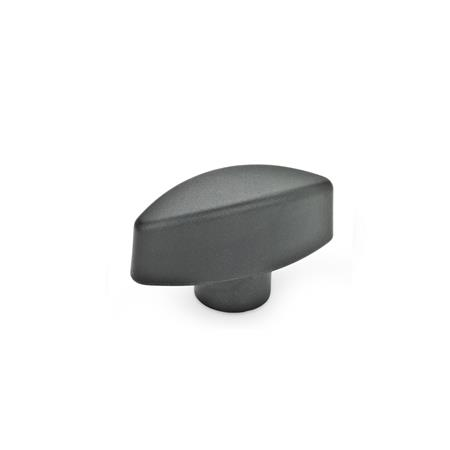 EN 532.1 Technopolymer Plastic Wing nuts, with Protruding Hub Type: E - With threaded blind bore