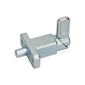 GN 722.2 Steel Square Spring Latches, with flange for surface mounting Type: A - Latch position right-angled to fixing holes<br />Finish: ZB - Zinc plated, blue passivated finish