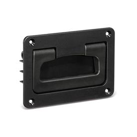 EN 825.2 Technopolymer Plastic Folding Handles with Recessed Tray, with Spring-Loaded Return Color: SW - Black, matte finish