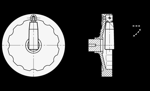 SHA-MRP Volantes de disco sólidos, de nylon plastificado, con empuñadura de bloqueo abatible boceto